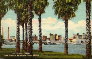 Florida Tampa View From Tropical Man Made Davis Island Curteich