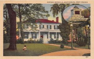 D96/ Martinsburg West Virginia Postcard Linen Historic Boydville Home Memorial