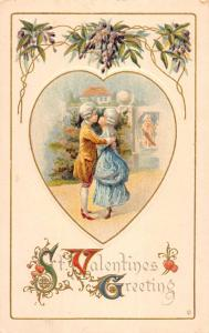Valentines Greeting Old Fashioned Couple Kiss Antique Postcard K78510
