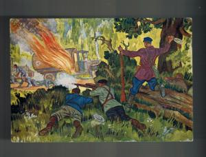 Mint WWII USSR SOviet Union partisans Attacking Germans Forest Postcard Red Army