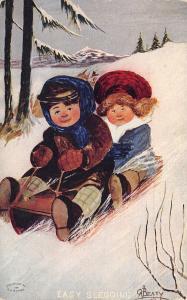A Beaty Christmas~Easy Sledding Bundled Up Boy & Girl Speed Downhill~1910 PC