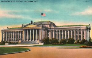 Oklahoma City, OK, State Capitol, Unused Linen Antique Vintage Postcard f3819