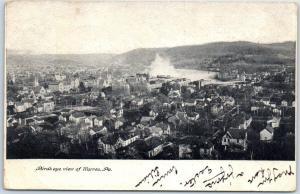 Warren, Ohio Postcard Bird's-Eye Panoramic Town View w/ 1907 Cancel