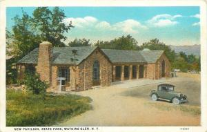 Watkins Glen New York~New Pavilion at State Park~Shelter House~1920s Car PC