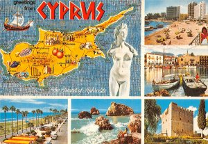 B108930 Greetings from Cyprus Map, Beach Promenade Plage Harbour Castle