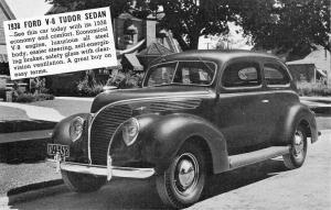 Ford V8 Tudor Sedan 1938 Automobile Car Vintage Postcard K60657