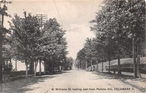DELAWARE OH WEST WILLIAMS STREET LOOKING EAST FROM PERKINS HILL POSTCARD c1910s