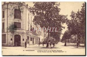 Old Postcard Draguignan The Bank & # 39avenue Carnot and Societe Generale