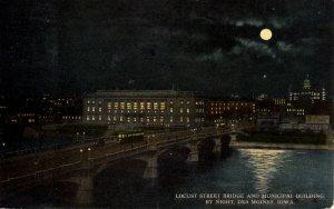 Des Moines, Iowa - Locust Street & Municipal Buildings at Night - in 1914