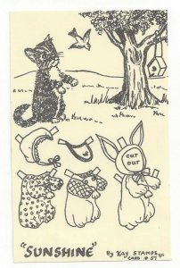 SUNSHINE By Kay Stamps, Cut Out Cat Card #57, 1984