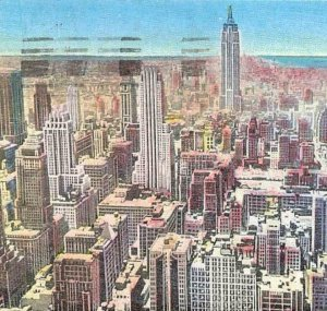 Midtown View Looking South From RCA Building Skyscrapers NYC Linen Vintage P5