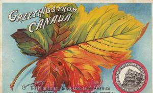Greetings from Canada , 1900-10s ; Maple Leaf , Prudential Insurance Company