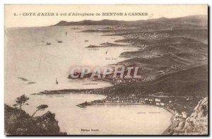 Cote d & # 39Azur a theft & # 39Aeroplane of Menton Cannes - Old Postcard