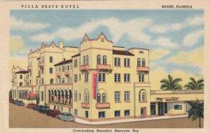 Florida Miami Villa D'Este Hotel Biscayne Boulevard Curteich sk1577