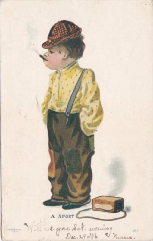 Humour Young Boy Smoking Cigarette A Sport 1906