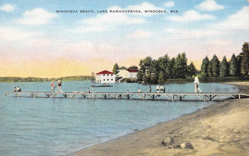 MINOCQUA, WI Wisconsin LAKE KAWAGUESAGA Beach~Dock~Swimmers