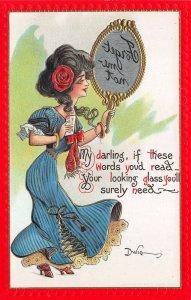 Artist Dwig Beautiful Woman Message in Glass Mirror Comic MINT Postcard 105