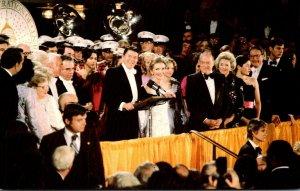 President and Mrs Ronald Reagan Greet Supporters At 1981 Inaugural Ball