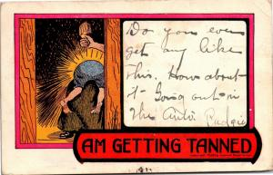 Child Being Spanked with Hair Brush, Am Getting Tanned Comic c1906 Postcard M01