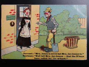 Maid & Dustman Chimney Sweep Theme MRS JONE IS NOT IN BUT MRS JER-HONES IS c1912