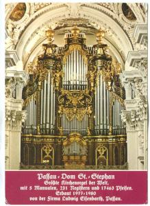 Germany, Passau, St. Stephen's Cathedral Dom, 1991 used Postcard