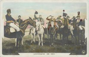 Northern France~Men Salute Hatless Napoleon~Horse~Campaign of 1814~Color RPPC