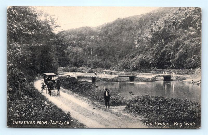 Postcard Jamaica Greetings Flat Bridge Bog Walk K11