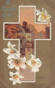 EASTER, PU-1909; Peaceful, Cross frame of water side Home, Lilly Flowers