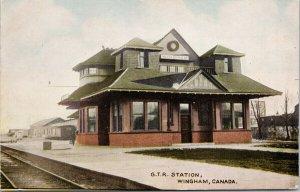 GTR Station Wingham ON Ontario Grand Trunk Railway Postcard F42