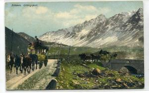Gebirgspost Mountain Post Stagecoach Schweiz Switzerland 1909 postcard