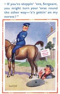 Policeman Manhole Man At Work Vintage Comic Postcard