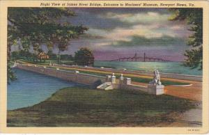 Virginia Newport News Night View Of James River Bridge Entrance To Mariners&#...