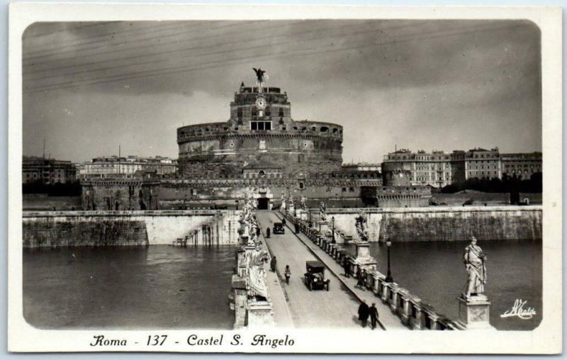 Vintage ROME Italy RPPC Real Photo Postcard Roma - 137 - Castel S. Angelo