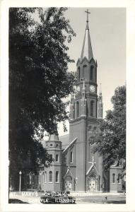 Carlyle Illinois~St Marys Catholic Church~1950s Real Photo Postcard~RPPC
