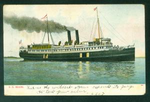 SS MIAMI Steamer Passenger UDB Steam Ship Florida FL Postcard