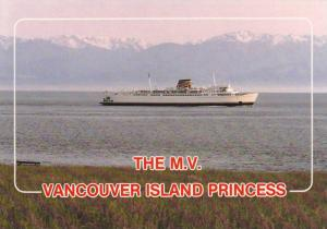 The snow-capped Olympic Mountains,  M.V. Vancouver Island Princess,  Victoria...