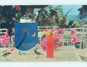 Unused Pre-1980 MENU ON TABLE OF BLUE WATERS EBACH HOTEL St John'S Antigua F6029