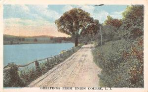 Union Course New York Waterfront Roadway Greeting Antique Postcard K68435