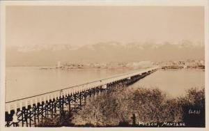 Montana Polson Panorama View With Bridge Real Photo RPPC
