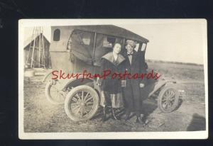RPPC ANTIQUE VINTAGE FORD MODEL T CAR AUTOMOBILE FARM REAL