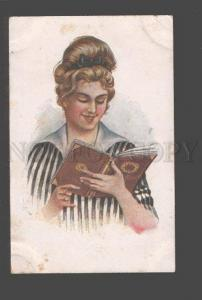 094783 BELLE Lady Woman reading Book Vintage Russian Rare PC