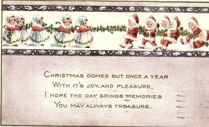 C.1910 Adorable Children as Santa & Mrs Claus Tug-o-War Victorian Postcard F36