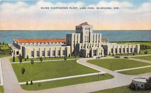 Milwaukee Wisconsin~Water Purification Plant @ Lake Park~Cars @ Entrance~1940s