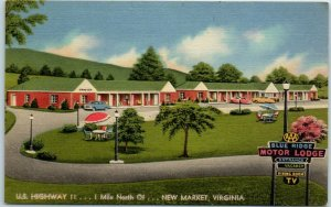 New Market, Virginia Postcard BLUE RIDGE MOTOR LODGE Highway 11 Roadside Linen