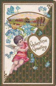 VALENTINE, PU-1909; Greeting, Cupid, Forget-Me-Not Flowers, Spring Scene