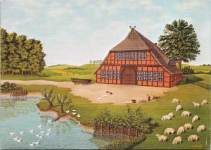 Westfalen-Hof Westphalian Farm Scene Germany c1984 H. Muller Art Postcard D59