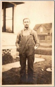 Vintage RPPC Real Photo Postcard Man in Overalls / House Yard c1920s UNUSED