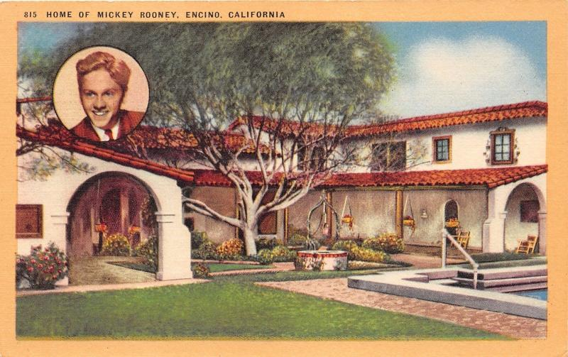 Encino California~Home of Mickey Rooney & Picture in Left Corner~1940s Pc