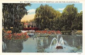 Wilmington North Carolina~Greenfield Lake~Rustic Bridge~Park Fountain~1931 Linen