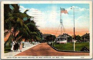 1938 KEY WEST BARRACKS, Florida Postcard  Cocoa Palms and Parade Grounds